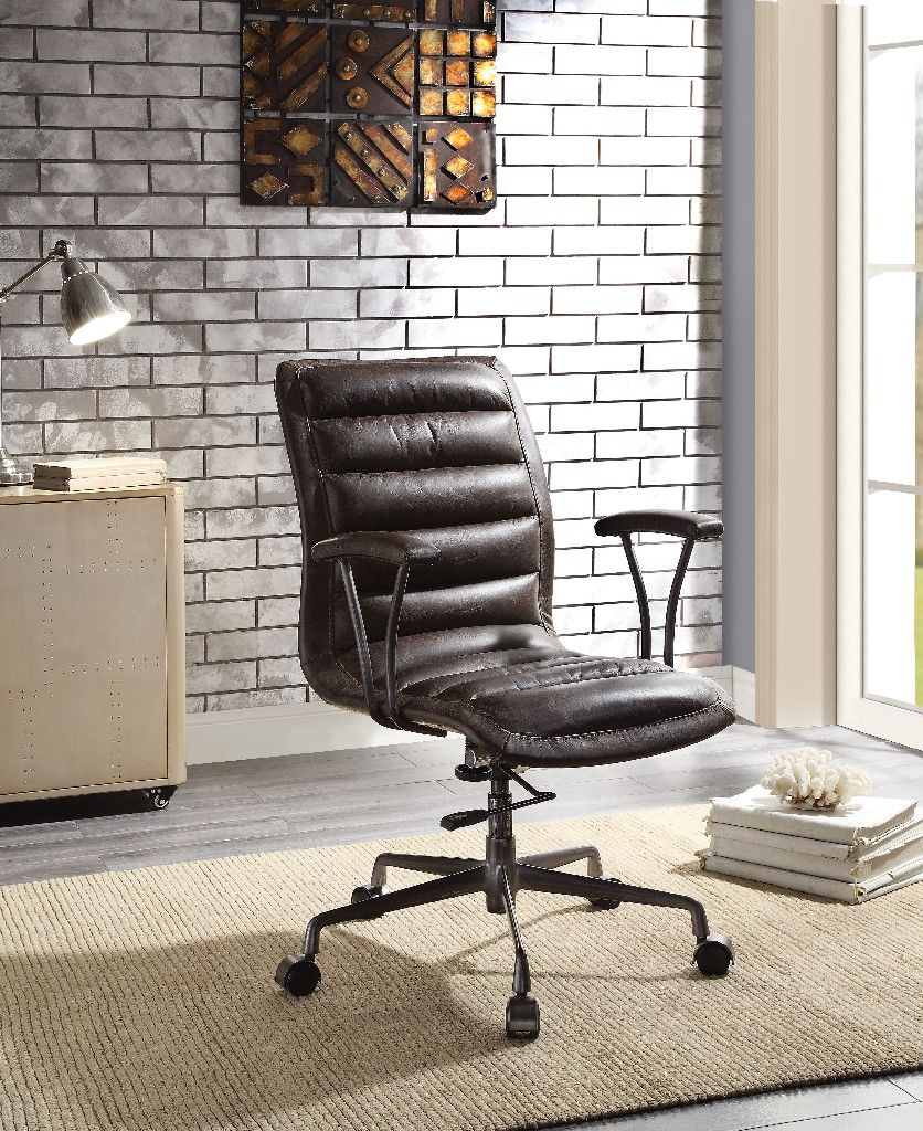 Zooey Office Chair in Distress Chocolate Top Grain Leather
