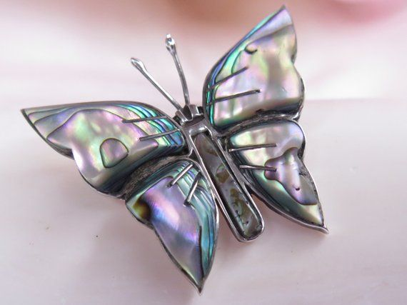 13aab086127a3 Vintage Butterfly Pin Abalone Sterling Silver Signed Cuernavaca ...