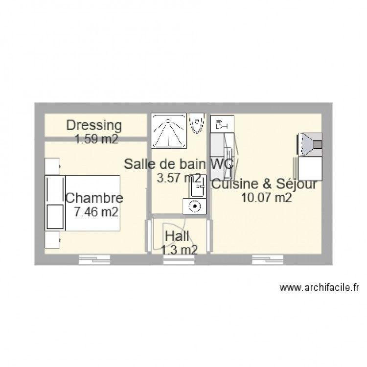 studio 25m2 plan de 5 pi ces et 24 m2 maison en 2019. Black Bedroom Furniture Sets. Home Design Ideas