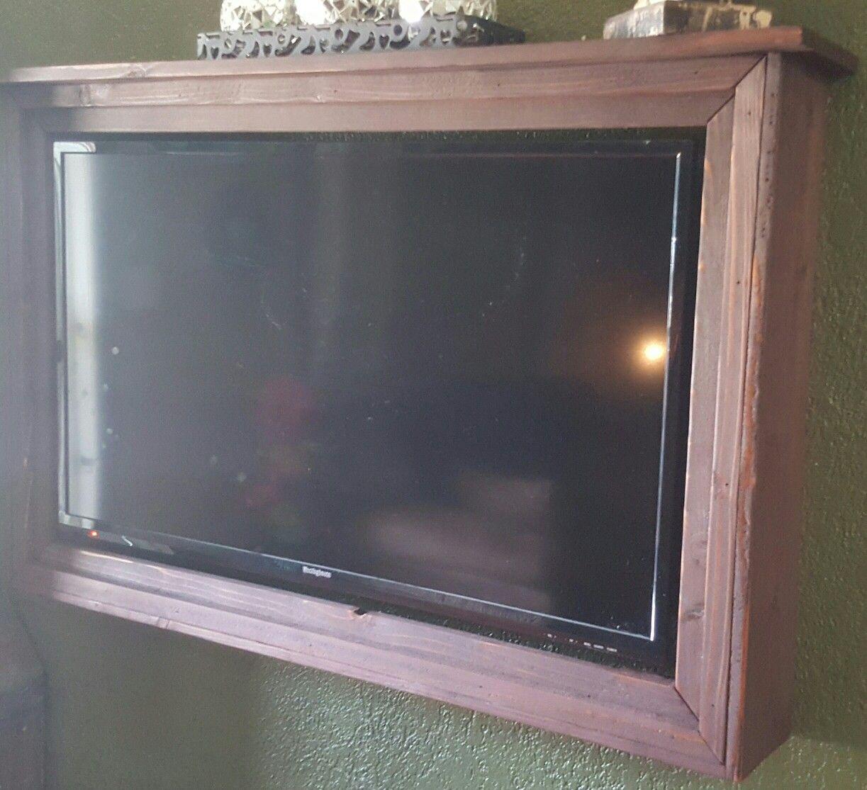 cedar tv frame with shelf top