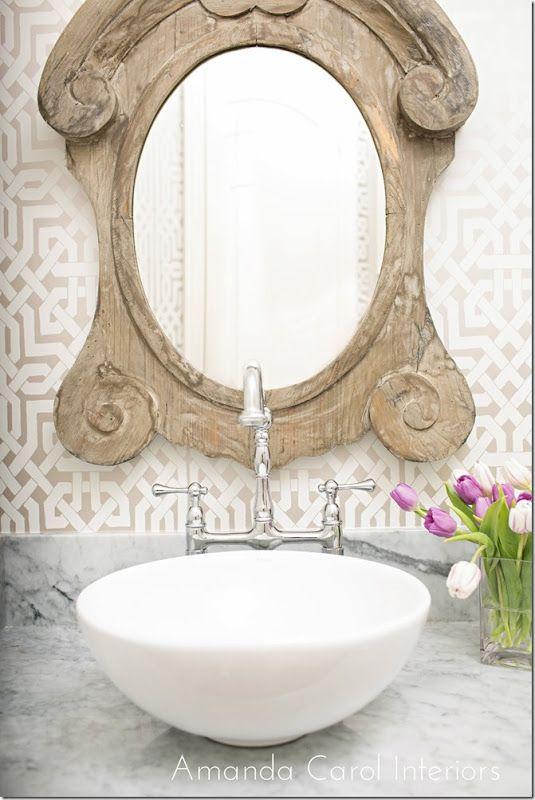 Carrera Marble Couter top, vessel sink, wallpaper, guest/half bath
