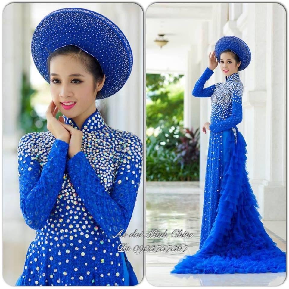 Royal Blue Wedding Ao Dai from Ao Dai Minh Chau