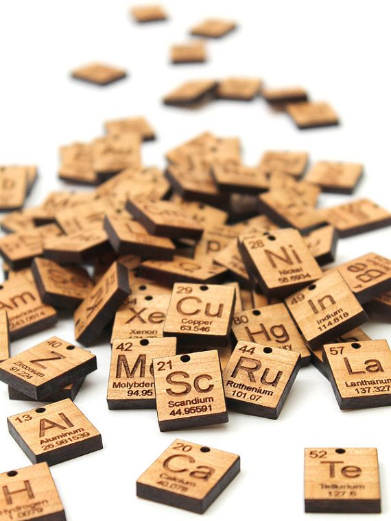 More Element Charms (Pa - Zr)  Chemical Symbol - Wood Jewelry - best of periodic table zr