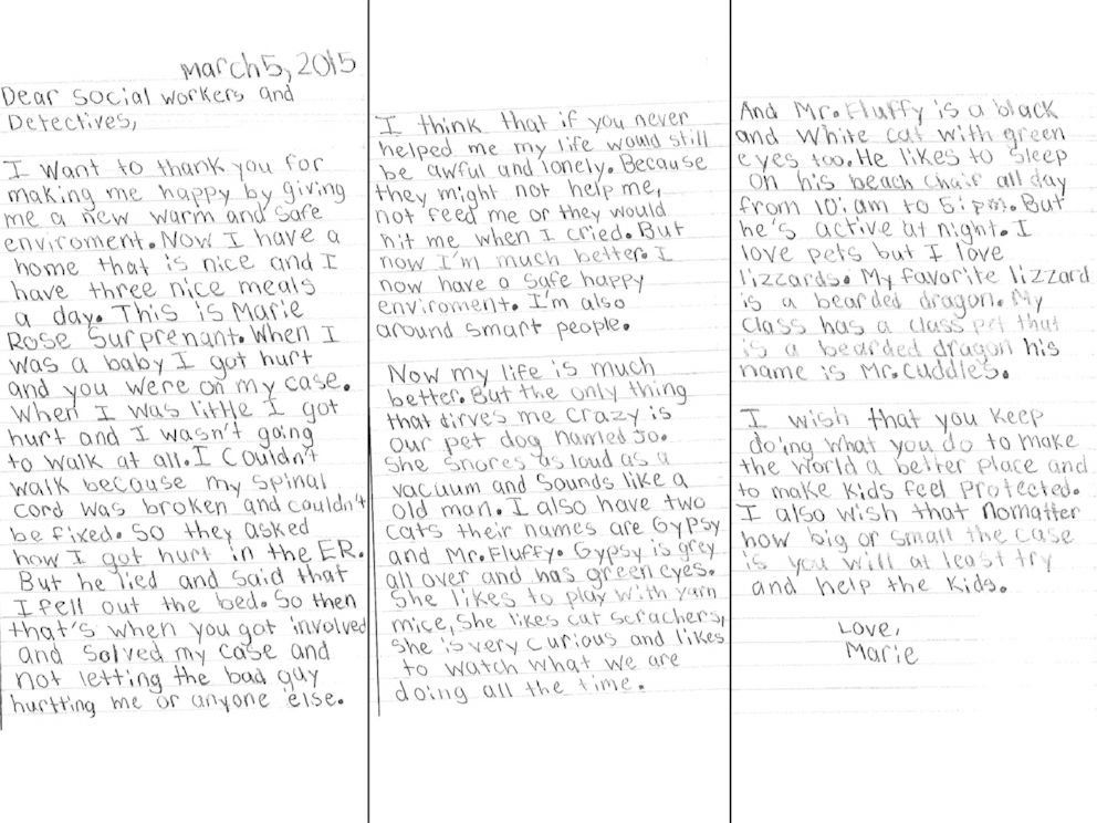 Little Girl Who Was Abused As A Baby Writes Heartfelt Thank-You