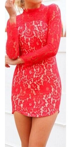 6cf235a65f1 Red Floral Lace Long Sleeve Mock Neck Open Back Sexy Bodycon Mini Dress
