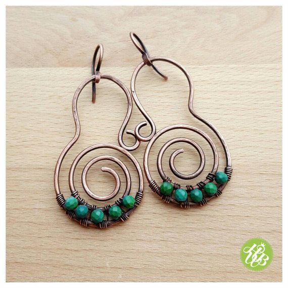 Genuine turquoise boho earrings big spiral earrings  wire