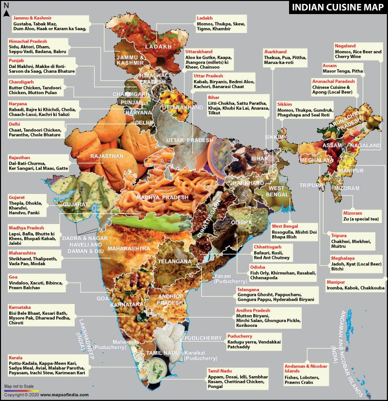 Indian food or cuisine map of india showing special indian