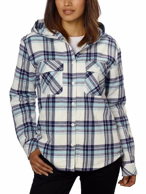 Boston Traders Ladies' Sherpa Lined Hooded Flannel Top