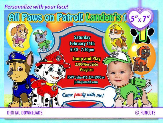 Paw Patrol 5 X 7 Paw Patrol Invitation Birthday Card By Funcuts 10 00 Paw Patrol Invitations Paw Patrol Birthday Card Paw Patrol Birthday