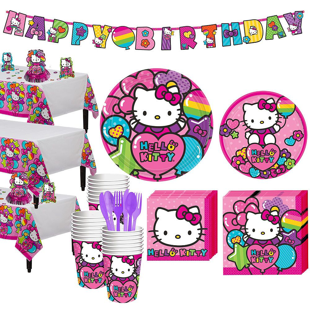 HELLO KITTY Rainbow TABLE DECORATING KIT 23pc ~ Birthday Party Supplies Pink