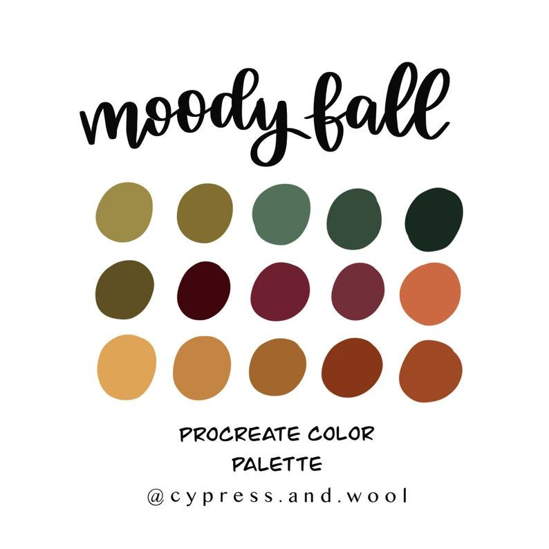 Moody Fall Color Palette Procreate Palette Procreate Etsy In 2020 Fall Color Palette Vintage Colour Palette Color Palette Challenge