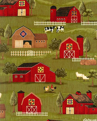eQuilter Down On The Farm - Pennsylvania Dutch Barns - Moss Green