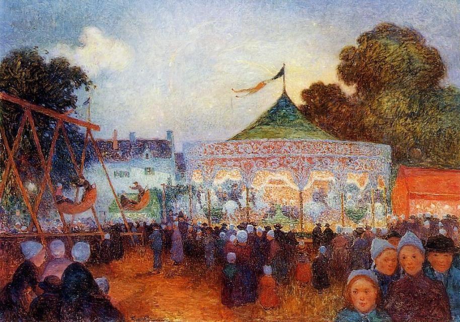 Ferdinand Du Puigaudeau Carousel At Night At The Fair