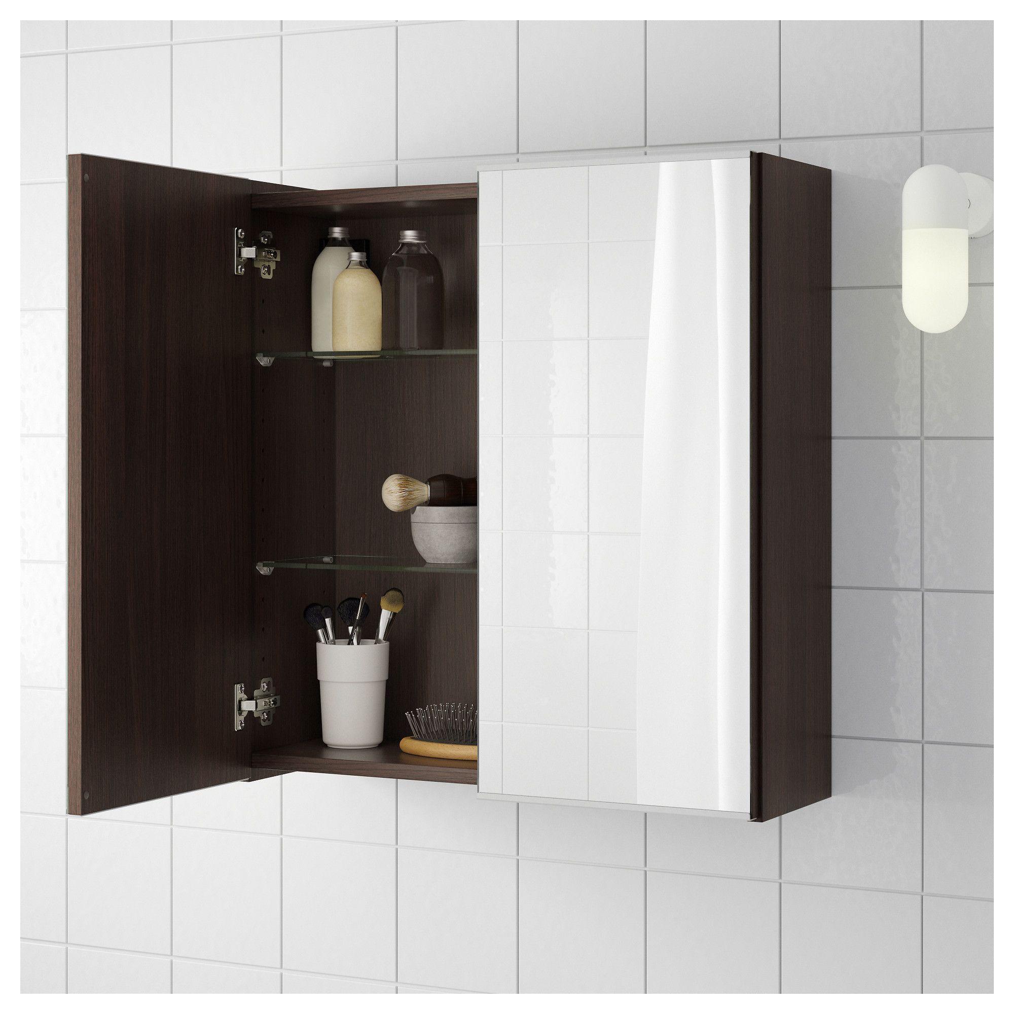 LILLÅNGEN Mirror with 2 doors blackbrown black