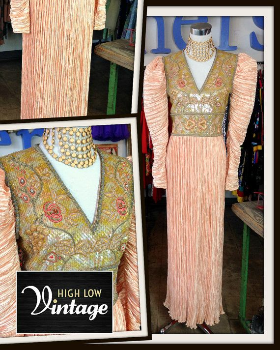 Vintage Mary McFadden Peach Dress with Beading by HighLowVintage