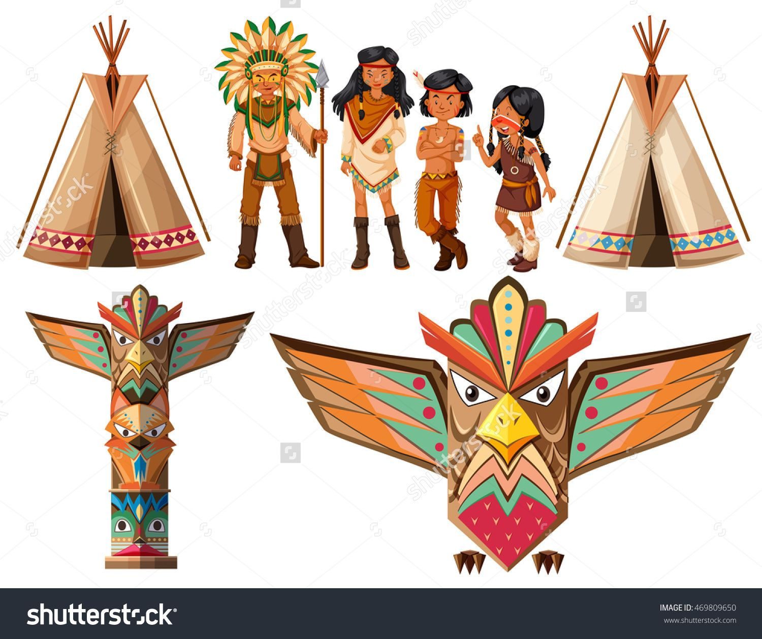 Native American Indians And Tepee Illustration - 469809650 : Shutterstock