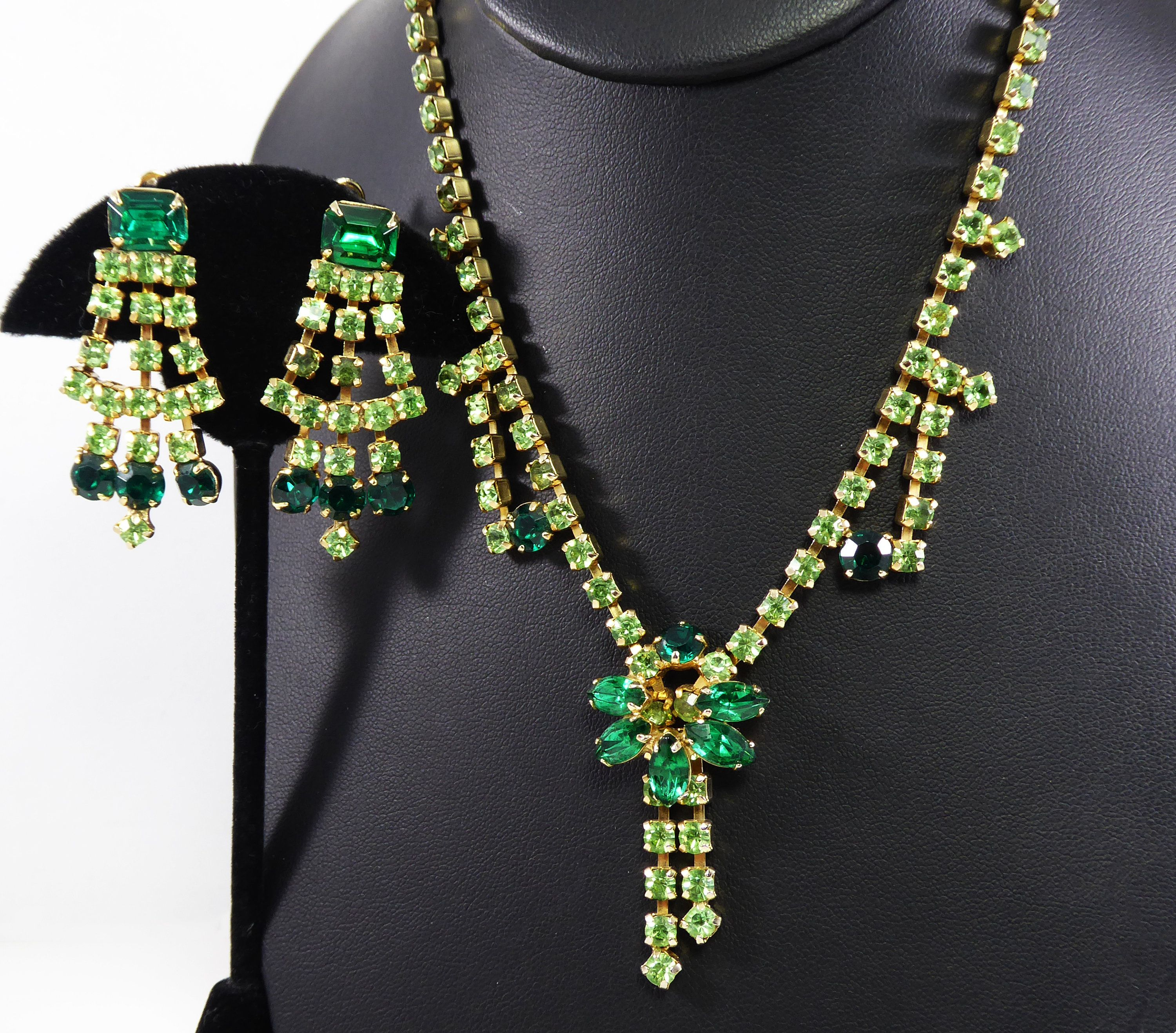 necklace with matching dangle earrings tiny glass beaded boheme crystal jewelry gold green white sets parure for girl women