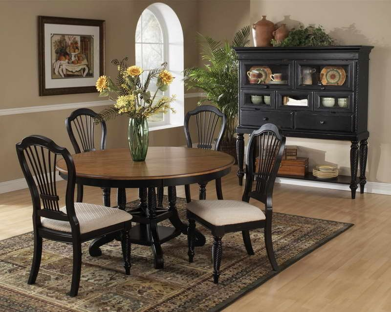 Pottery Barn Round Table Dining Room With Hardwood Floors