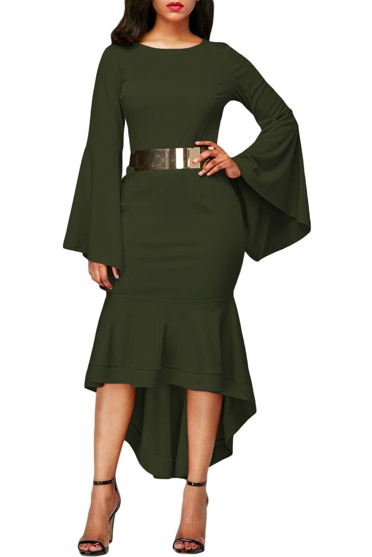 Olive green bell sleeve dip hem belted dress pinterest midi