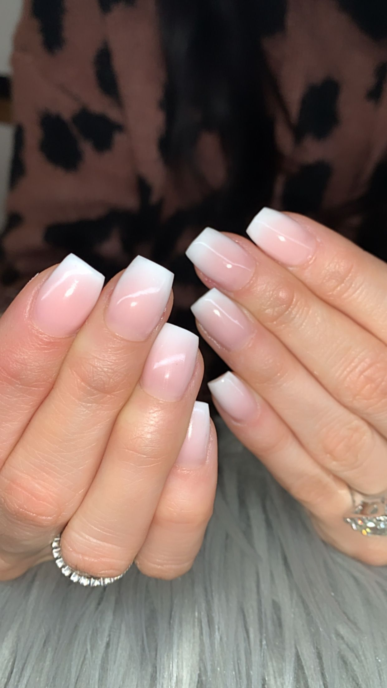 Ombre Nails In 2020 Pink White Nails Short Coffin Nails Designs Ombre Nail Designs
