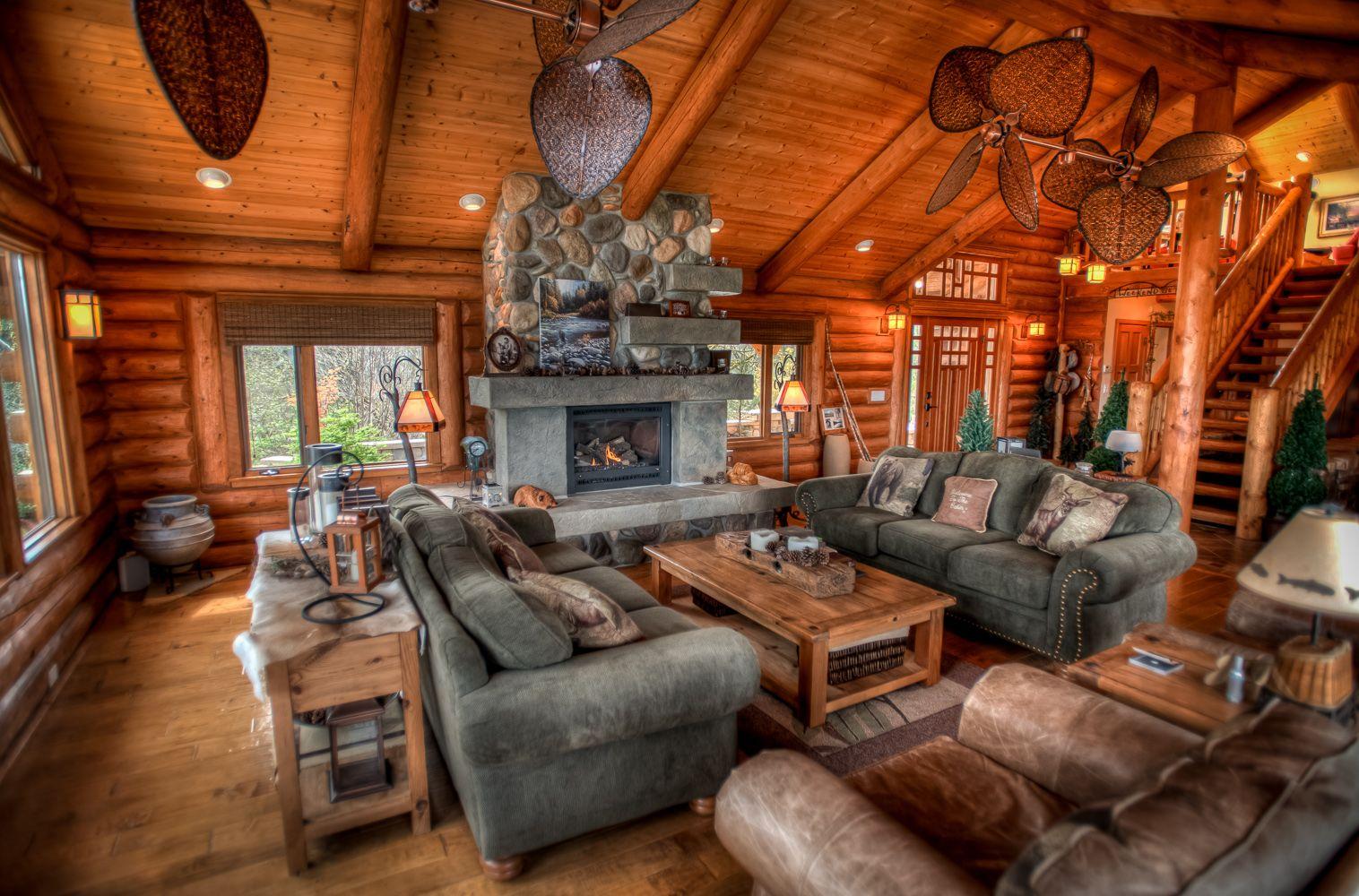 Log Home Living Room Stone Fireplace Unique Ceiling Fans Cozy House Log Homes Log Home Living
