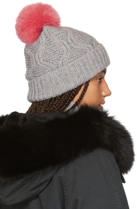 d936a85a Yves Salomon - Grey & Pink Fur Beanie   Hats & ...   Pinterest ...
