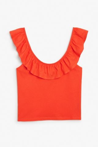 415ac8521b3be5 Monki Image 2 of Ruffled singlet in Orange Reddish Dark