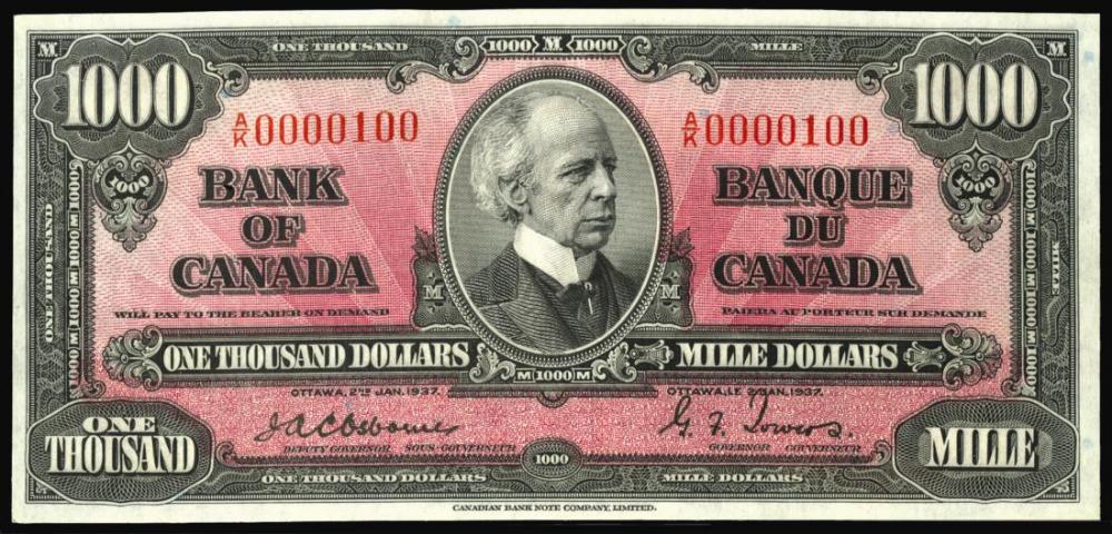 Canada 1937 1000 Dollars Thousand Dollar Bill Dollar Dollar Bill