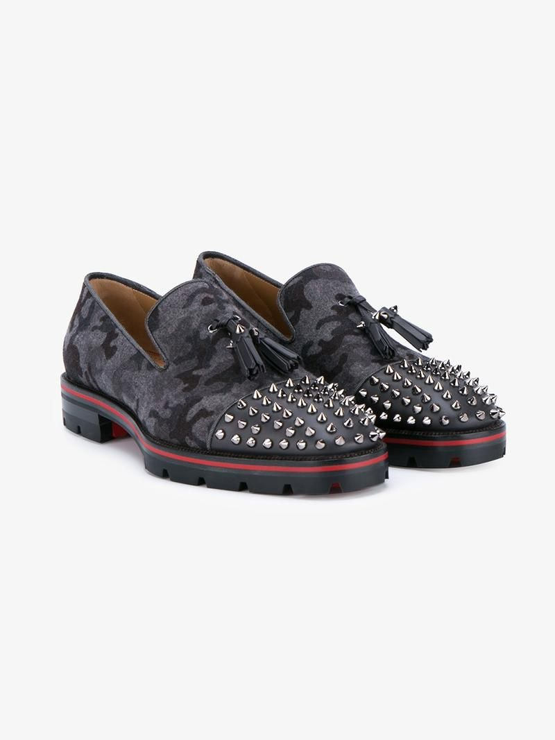 bbdc1601207e CHRISTIAN LOUBOUTIN SPIKED VAMP CAMOUFLAGE LOAFERS.  christianlouboutin   shoes  flats