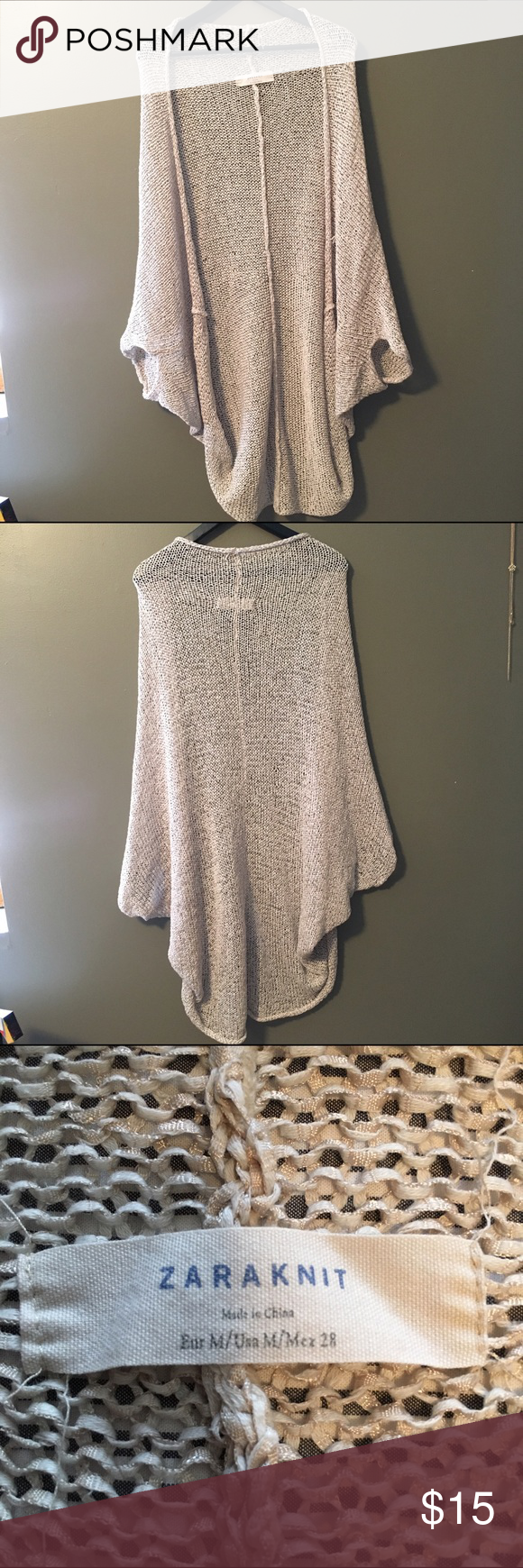 Zara Loose Cardigan Zara knitted cardigan. Super slouchy fit/off the shoulder. Cute with high waisted shorts and tank in the summer! Zara Sweaters Cardigans