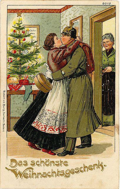"""WWI German Christmas Postcard - """"Das schönste Weihnachtsgeschenk"""" (The Best Christmas Present)"""