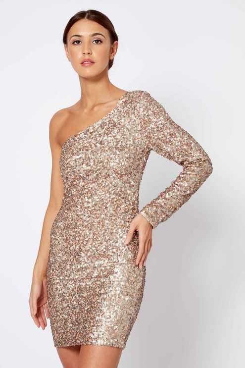 3cc7ded2329   Einschultriges Bodycon-Kleid mit Pailletten von Club L