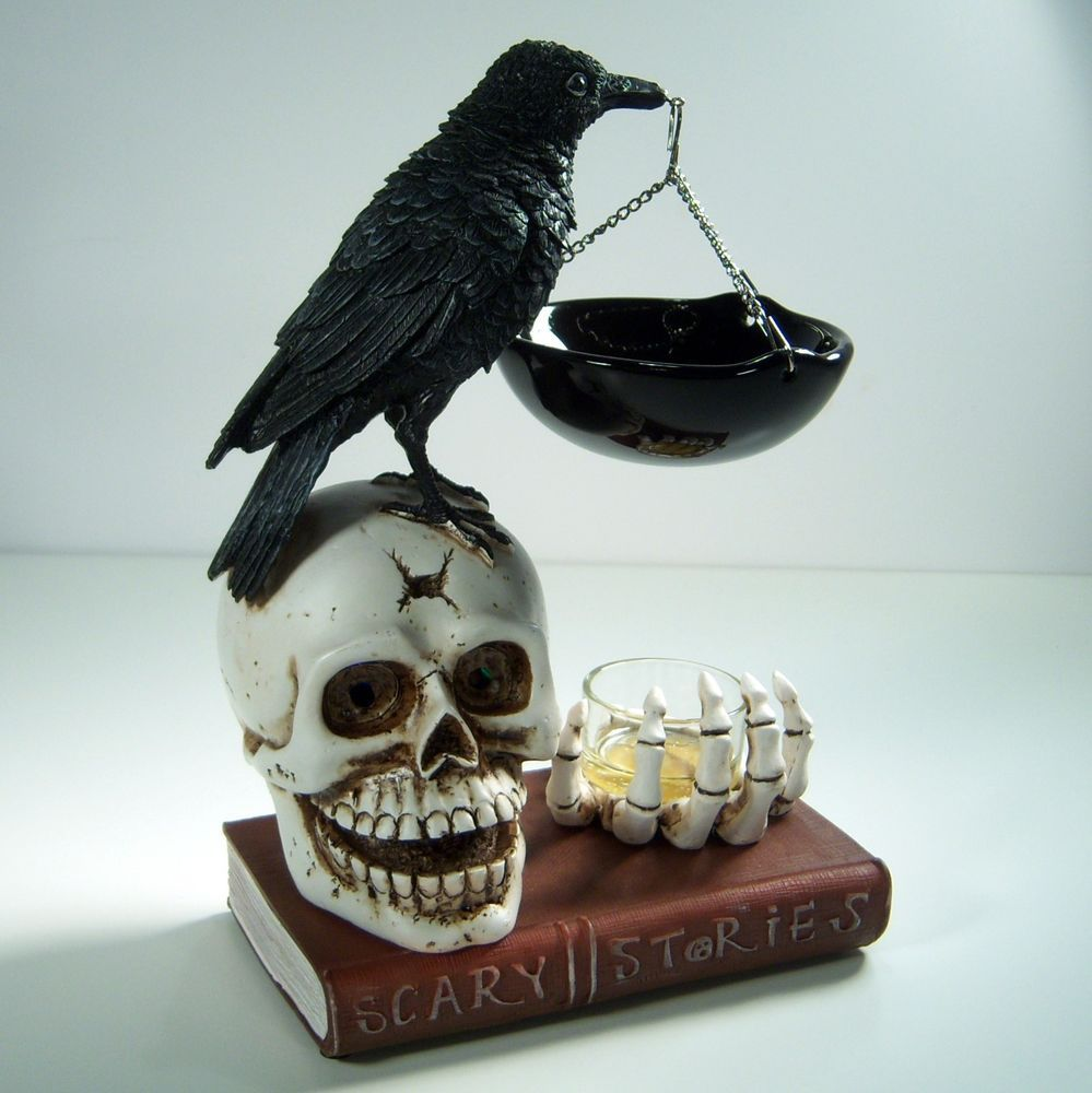 yankee candle halloween hanging wax melts tart warmer skeleton crew skull raven