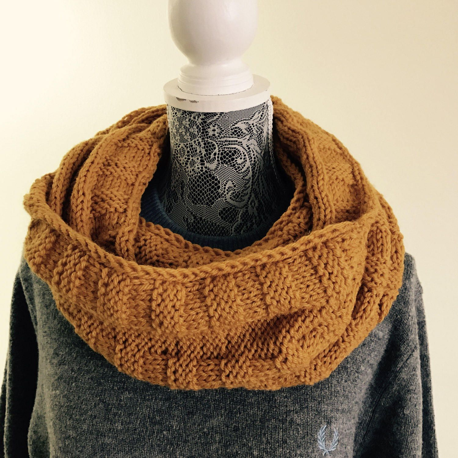fashion fringe mens chunky gift infinity tassels blanket pin him charcoal scarf gray knit cowl for