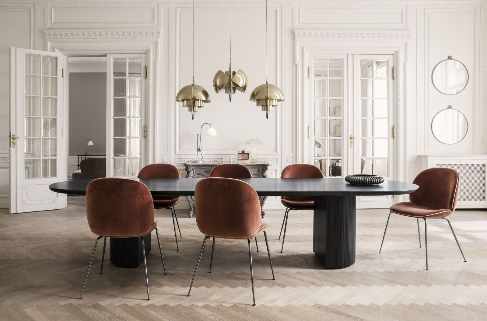 GUBI // Beetle Chair, Moon Dining Table And Mulit Lite Pendant