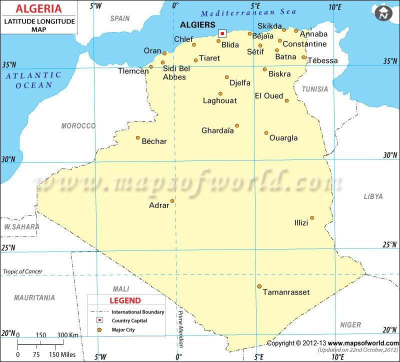 Algeria Latitude And Longitude Map Maps Of World Pinterest - Map of egypt latitude and longitude