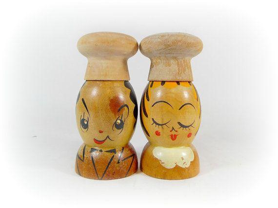 Vintage Wood Salt and Pepper Shaker Set People by RetroEchoVintage