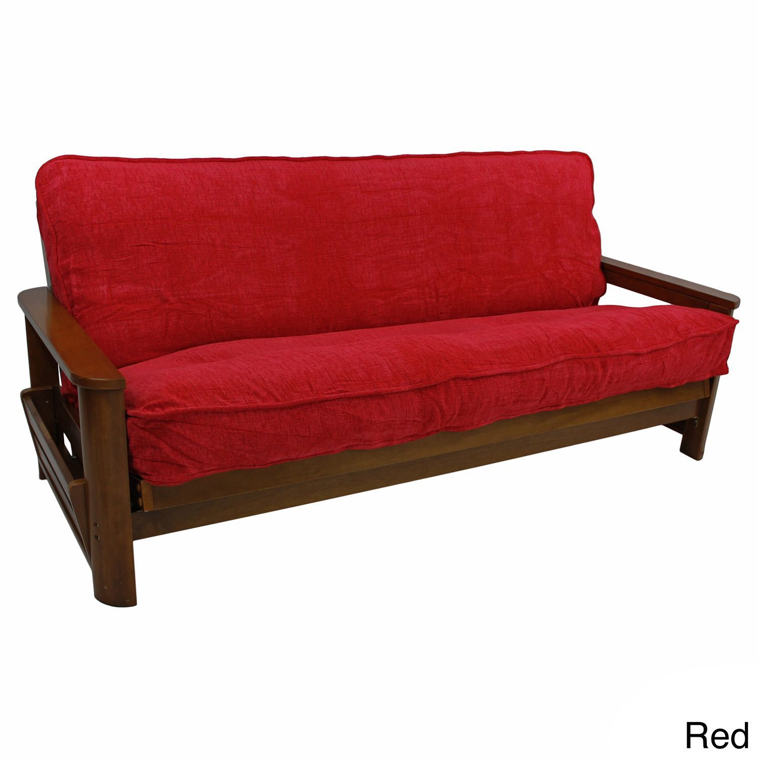 Blazing Needles Solid Chenille Double Corded Futon Cover 54 X 74 Red