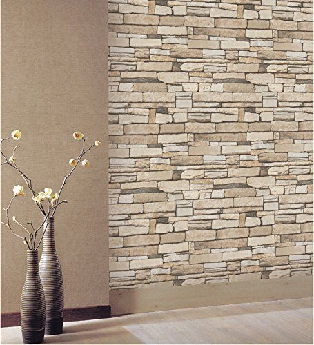 Natural Stacked Stone Brick Pattern Vinyl