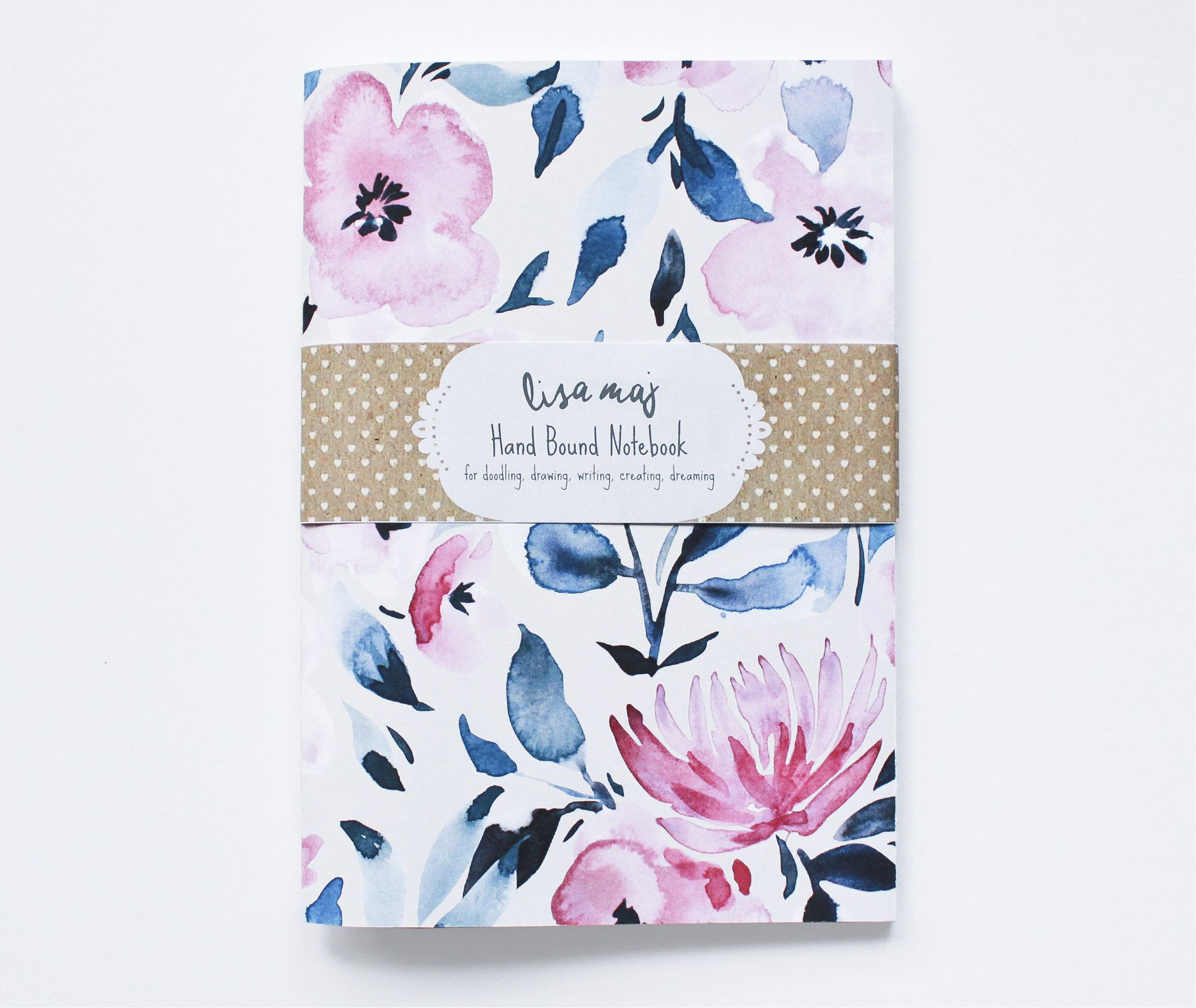 Modern Watercolour Floral On Cream Bullet Journal With Dot Grid