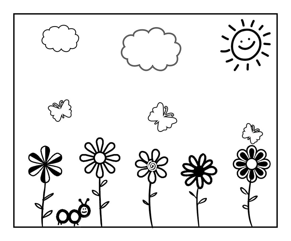 Spring coloring pages and crafts - Spring Coloring Page