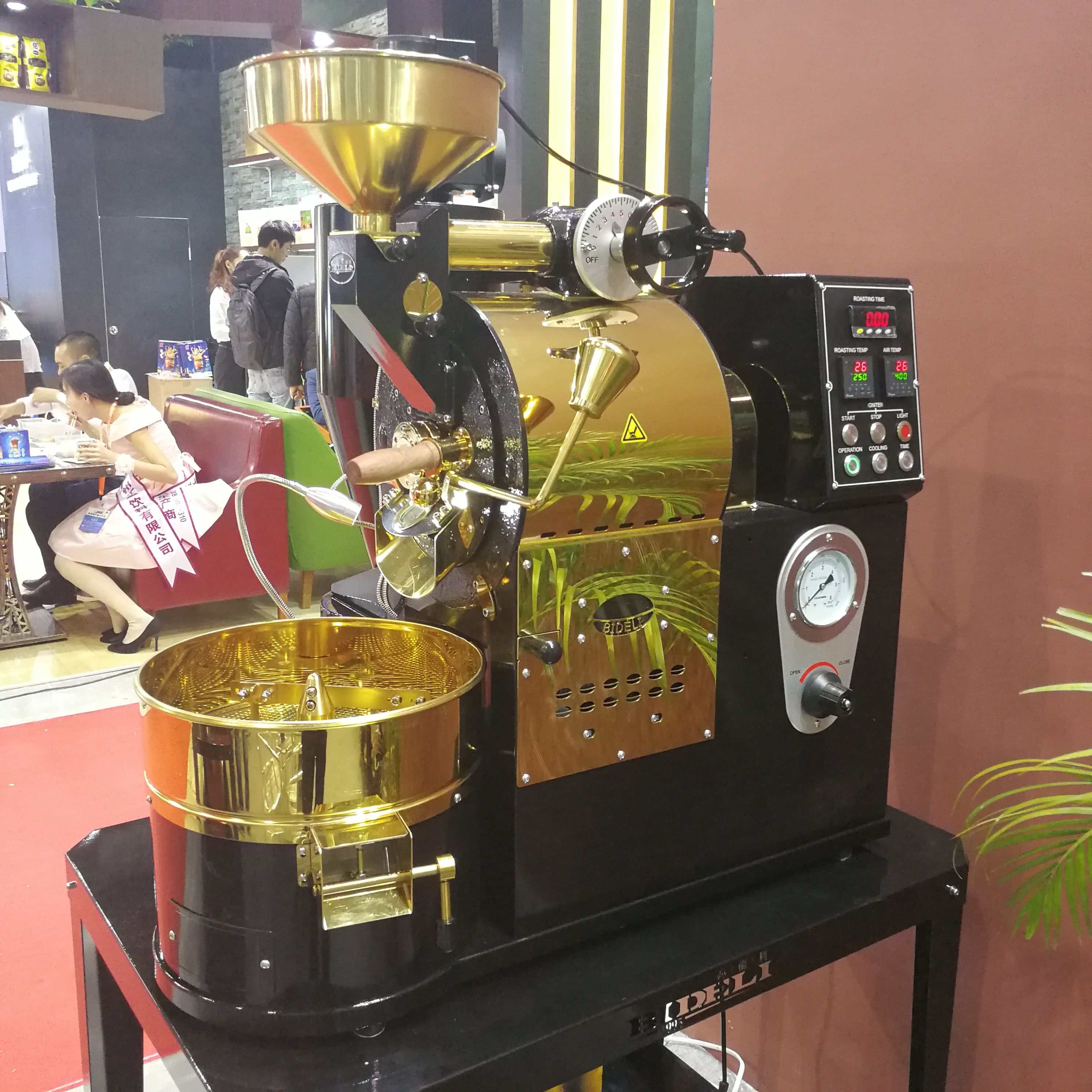 Dalian Amazon Corp 1kg Coffee Roaster Black Gold Finished Color Gas Heating Source Gas Heating Coffee Roasters Amazon Coffee
