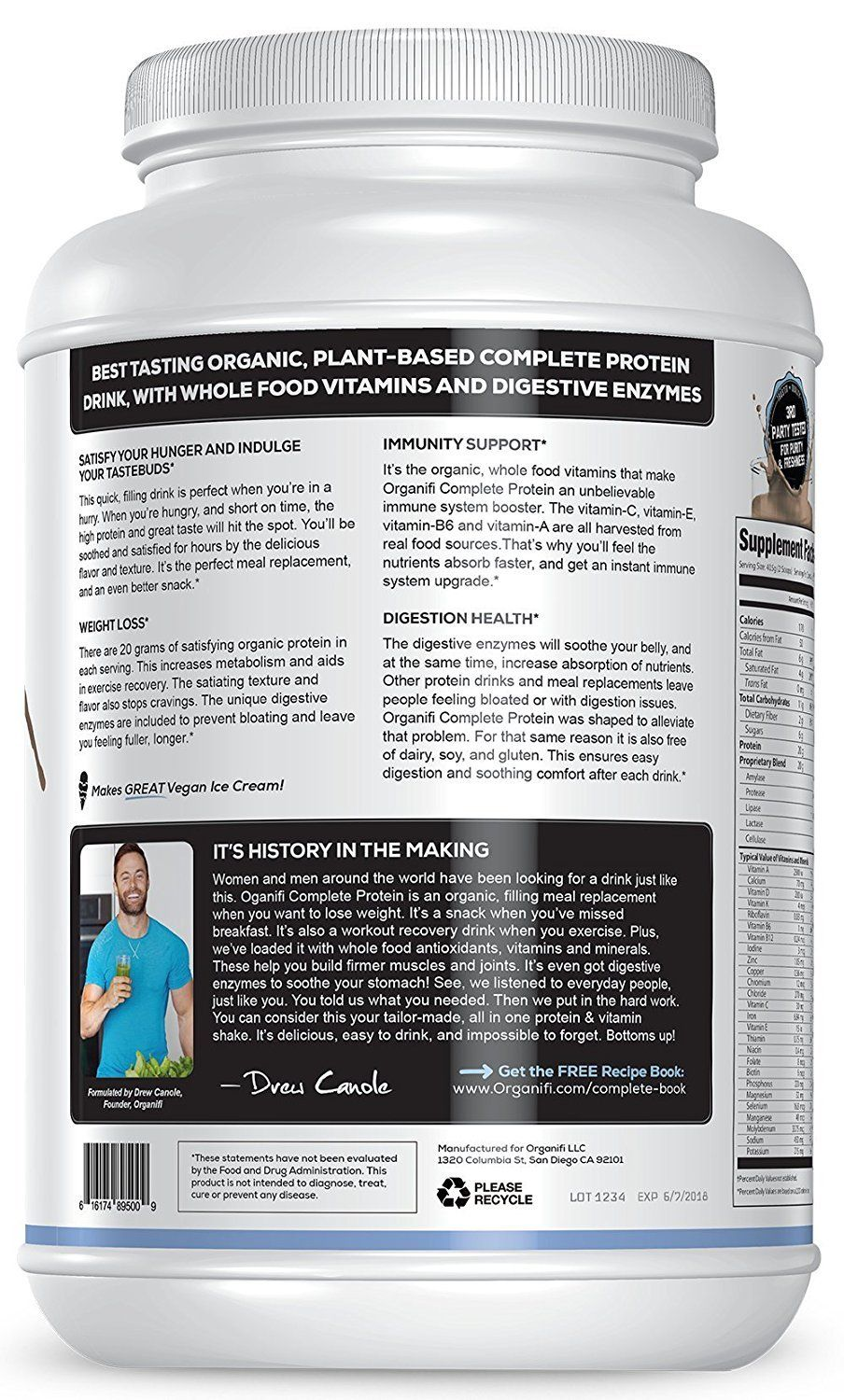 Vegan Protein Powder Organifi Complete Protein Organic Plant Based Protein Drink Meal Replacement S Whole Food Vitamins Protein Drinks Vegan Protein Powder