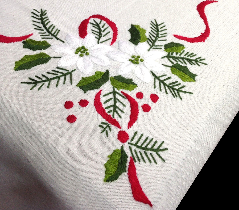 Mantel de navidad bordado a mano con un dise o de flores - Manteles para navidad ...