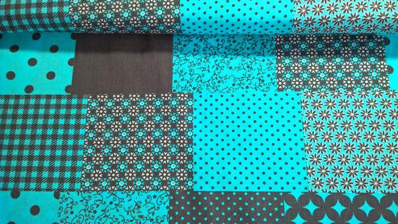 Stoff grafische Muster - Baumwollstoff Popeline Fabric Patchwork petrolblau - ein Designerstück von Stoffe-guenstig-kaufen bei DaWanda