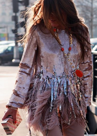 Anna Dello Russo. Is there anything more perfect than sequins AND feathers? // Pinned on @benitathediva, DIY fashion inspiration.