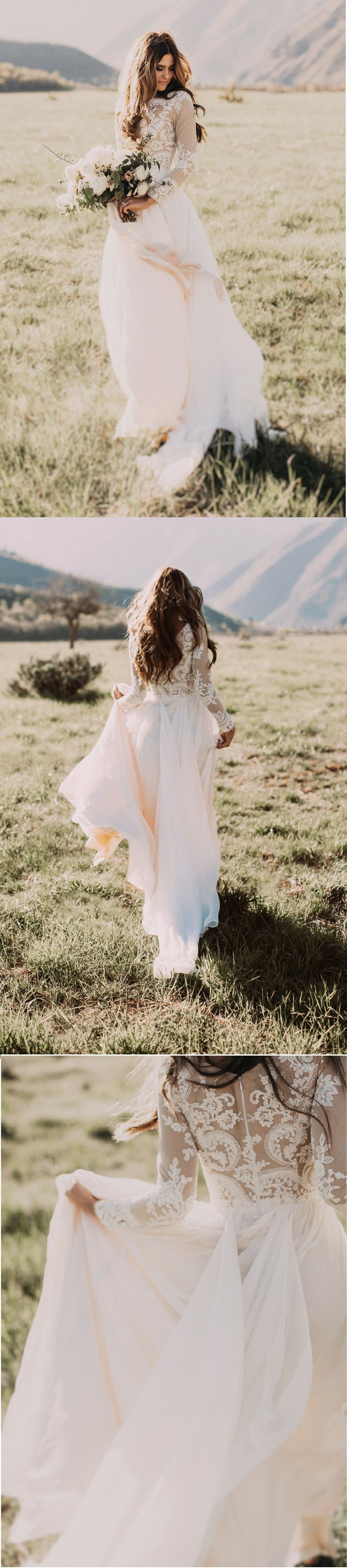 Long sleeve chiffon wedding dress  beautiful long sleeves alineprincess chiffon wedding dress  Bride