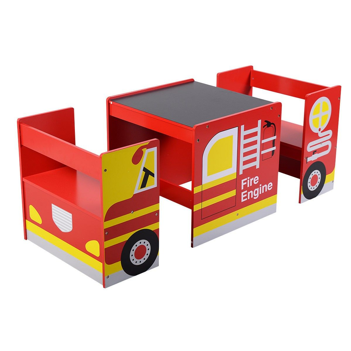 Kids Multifunctional Wooden Bus-like Table and Chairs Set | Toddler ...