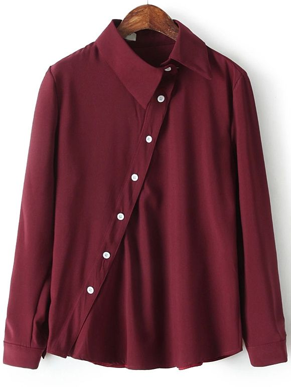13f944b0c59 Wine Red Lapel Oblique Buttons Casual Blouse