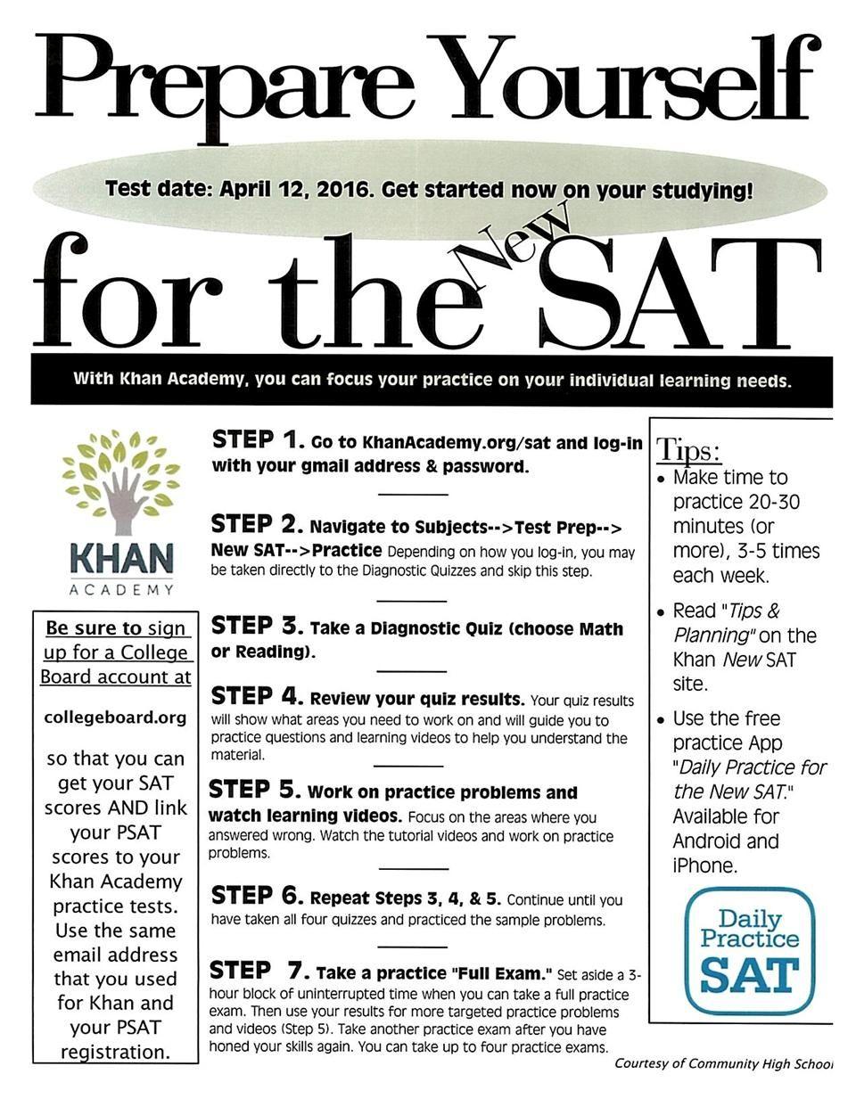 Sat Preparation Prepare Yourself For The New Sat Handout High School Hacks Junior Year High School High School Advice